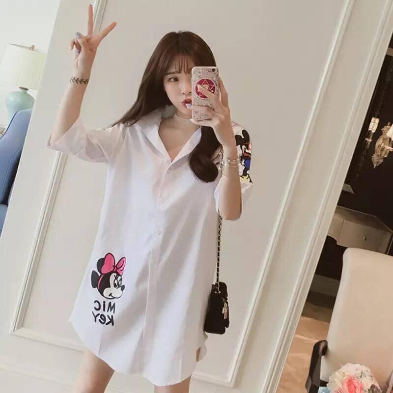 5 XL Women Shirt Plus Size Blouse Cartoon White Blouse Minnie Cotton Casual Fashion Voile Plus Size Women Clothes 7