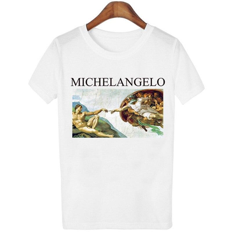 Femme Tops Michelangelo Sistina T-shirt Harajuku Ulzzang T shirt Women Kawaii