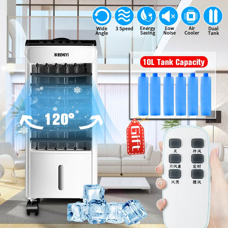 10L 220V Tank Home Water Mobile Portable Air Conditioner Conditioning Fan Humidifier Cooler~Timer ~Remote Control +6 Ice Crystal