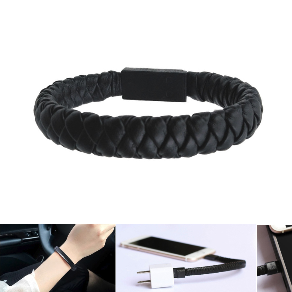 High quality Leather USB <font><b>Cable</b></font> Wristband Bracelet <font><b>cable</b></font> Type C <font><b>Cable</b></font> Sync Data Charger Cord for Xiaomi Samsung S6 S7 image