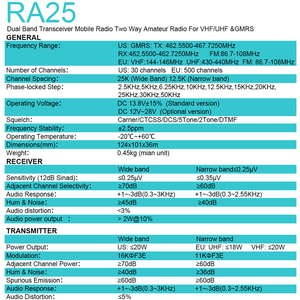 Image 3 - Retevis RA25 רכב נייד רדיו UV Dual Band/GMRS TFT תצוגת 20W מכשיר קשר לרכב 500/30CH רכב דו דרך רדיו חובבים משאית