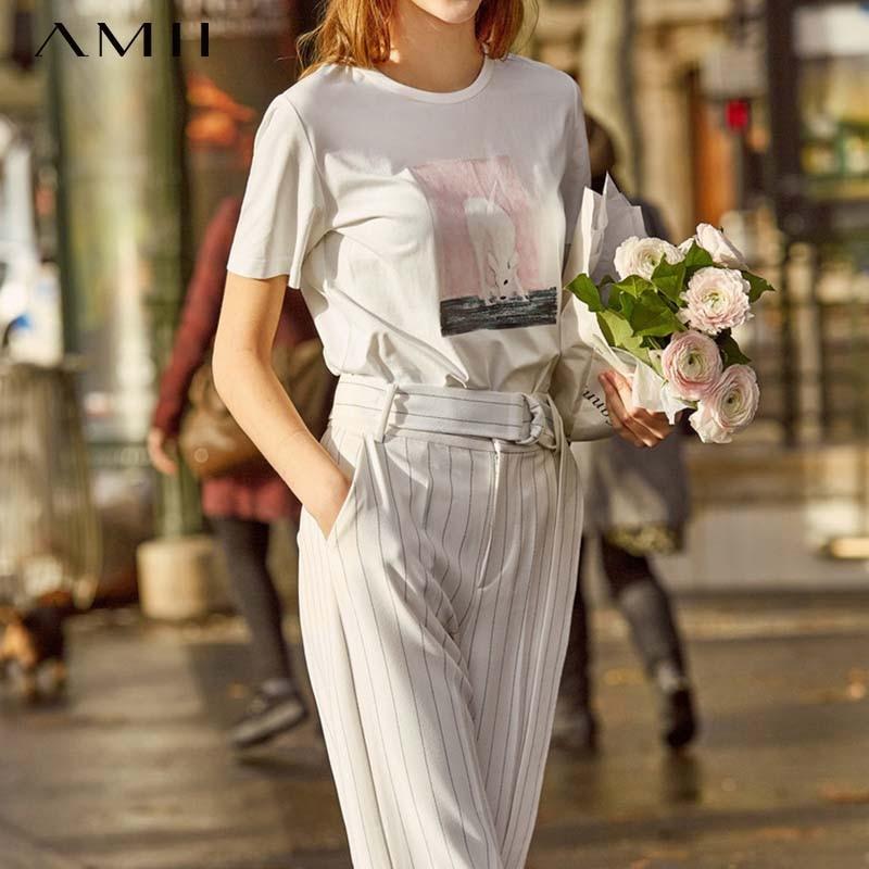 Amii Minimalist O-Neck T Shirt Women New 2019 Spring Summer Loose O Neck Printed Cotton Short Sleeve Female Tee11920019