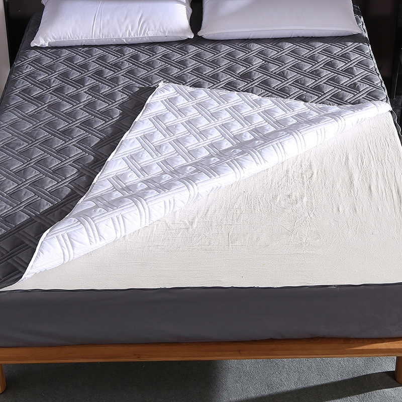 Breathable Waterproof Mattress Cover With Zipper 180*200 Mattresses Gray Embossed Cotton Topper Soft Thicken Mattress Protector