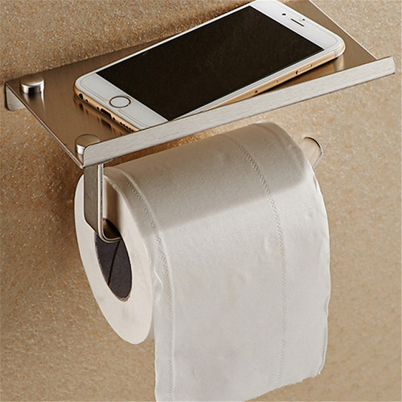 Bathroom Shelves Stainless Steel Light Toilet Roll Paper Rack With Phone Shelf Wall Mounted Bathroom Paper Holder Hook