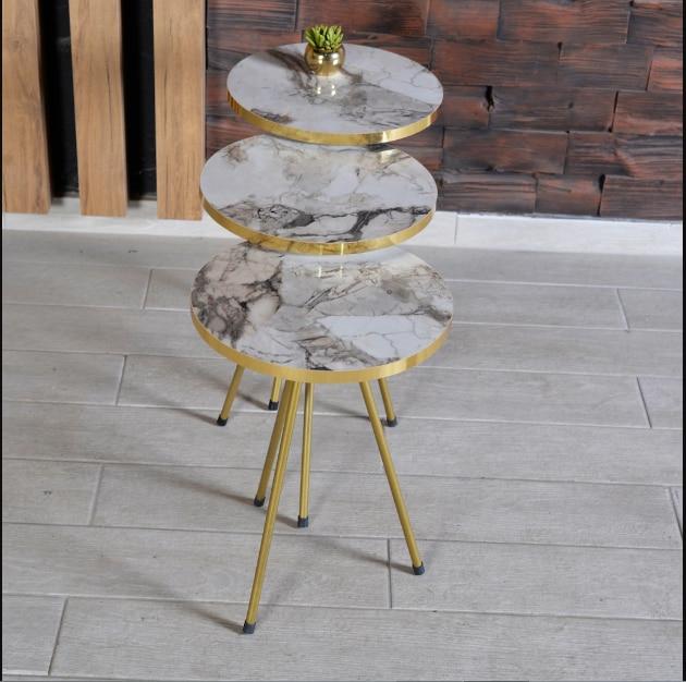 Журнальный столик Zigon, 3 шт., золотистые металлические ножки, 2 цвета на выбор