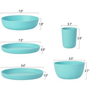 Image 3 - lekoch European tableware 5pcs blue Bamboo fiber Household Dishware Set Simple dishes salad Soup bowl Steak plate Western dish