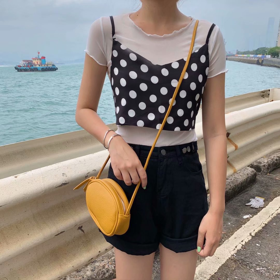 -Style Two-Piece 2019 Summer New Style Solid Color Mid-length Loose-Fit T-shirt + Polka Dot Camisole Leisure Suit