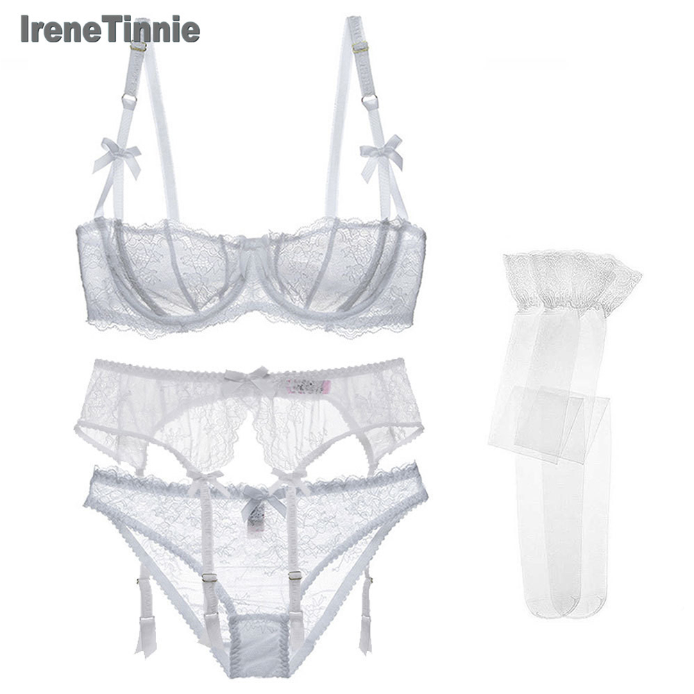 Sexy Cotton Lace Bra+Panties+Garter+Stockings 4 Pcs Gather Underwear Push Up Embroidery Half Cup Bra And Transparent Panty Set