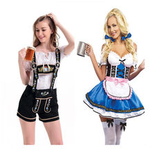 Hot Dirndl Bir Jerman Pembantu Kostum Wanita Oktoberfest Karnaval Fancy Dress Up Disfraz Mujer Kostum Halloween Pembantu Gaun(China)
