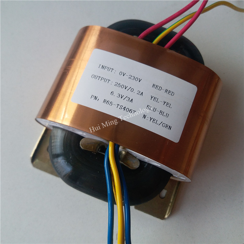 250V 0.2A 6.3V 3A R Core Transformer R65 70VA custom transformer 230V input copper shield output <font><b>for</b></font> <font><b>Pre</b></font>-decoder Power <font><b>amplifier</b></font> image