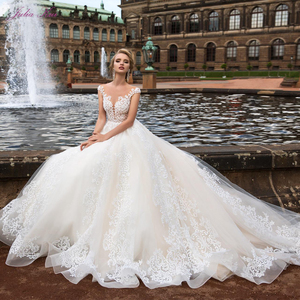 Julia Kui High-end Sexy Backless Ball Gown Wedding Dresses With Embroidery Lace Illusion Neck Bride Dress 2020 Robe de Mariage(China)