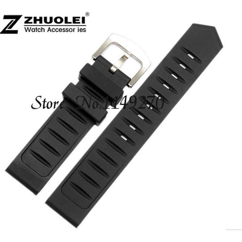 Per qualsiasi orologio 20 millimetri 22 millimetri 24 millimetri di Gomma nera cinturino impermeabile morbido Cinturino di vigilanza del silicone wristband braccialetto in acciaio fibbia in acciaio