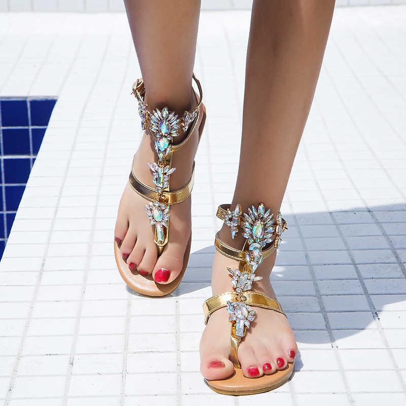 2020 Vintage Boho Giày Sandal Nữ Da Chiếu Trúc Hạt Đế Bằng Nữ Bohimia Đi Biển Cho Giày Plus Kích Thước Mùa Hè Thời Trang Phụ Nữ
