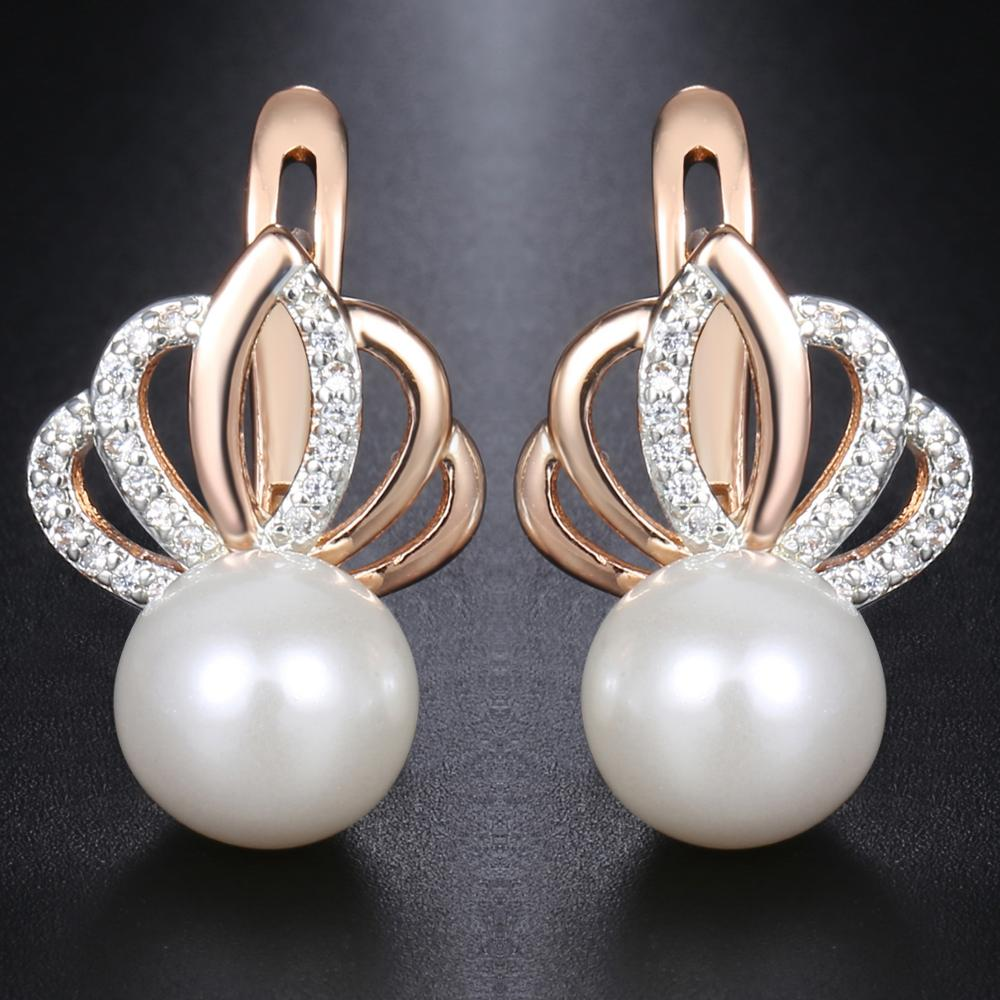 Davieslee Pearl Stud Earrings For Women 585 Rose Gold Filled Rhinestones Crown Womens Stud Earring Fashion Jewelry Gift DGE150