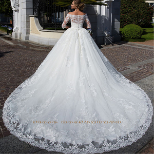 Image 3 - Appliques dentelle robe de bal musulmane robes de mariée avec photo voile Aliexpress connexion col haut à manches longues à lacets robes de mariée