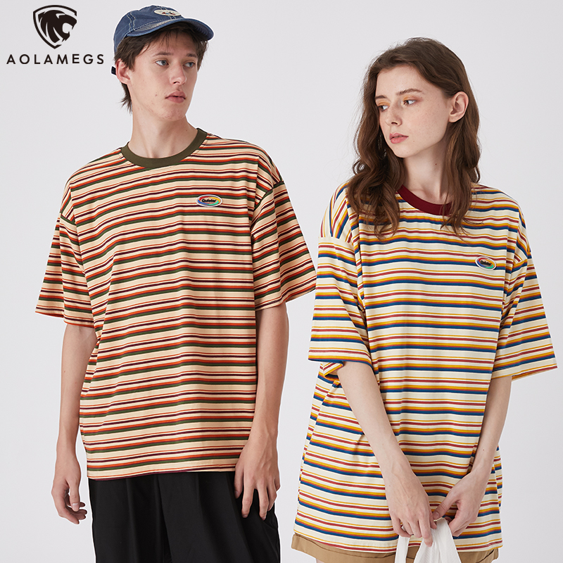 Aolamegs T Shirt Men Multicolor Striped T Shirts Men Short Sleeve  Harajuku Retro All-match Lovers Tops Tees Fashion Streetwear