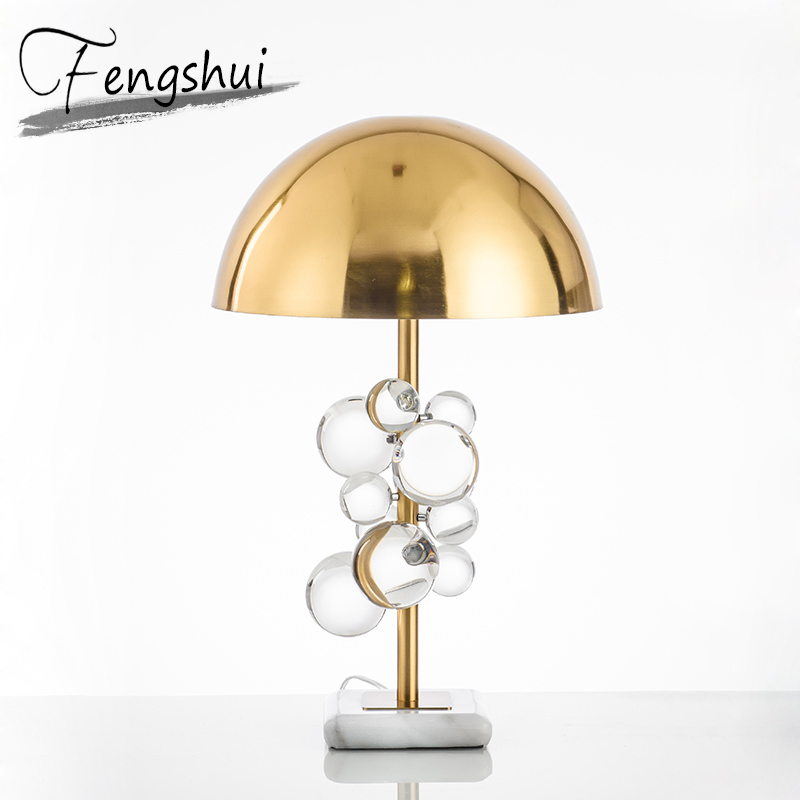 Luxury Crystal Ball Table Lamp Home Decor Table Light Bedroom Bedside Study Hotel Living Room Hotel Iron Desk Lamp Shade