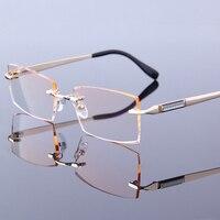 Neue Business Männer Lesebrille Ultraleicht Rahmenlose Hyperopie Brille Gradienten Linsen Grau/Orange Randlose Brillen Mann S7040|Lesebrillen|   -