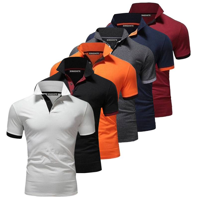 Men's Golf Shirts Polo Shirts Slim Fit Bodybuilding Solid Color Casual Shirt Tops Multicolor Men Summer Apparel