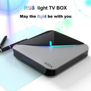 Image 2 - A95X F3 AIR Smart TV Box Android 9.0 rvb lumière 8K décodage UHD 4K 75fps lecteur multimédia 2.4G/5G WiFi Amlogic S905X3 4 GB/64 GB