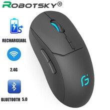 Ratón óptico inalámbrico recargable de 2400DPI, receptor Bluetooth 5,0, 2,4G, modo Dual, portátil, para PC y portátil, ratones silenciosos