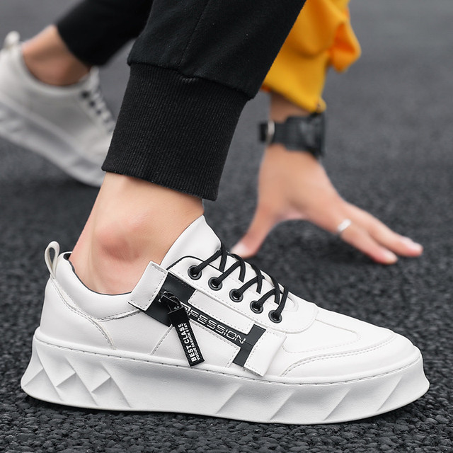 2019 Men Shoes Pu Leather Solid Trainers Shoes Breathable Lace Up White Shoes Men Zapatillas Hombre Casual Shoes Men