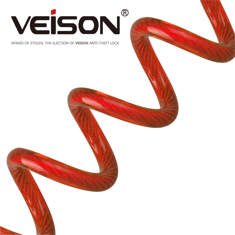 VEISON 150cm Motorcycle Alarm Disc Lock Security Anti Thief Motorbike Disc Lock Reminder Coil Cable Bicycle Security