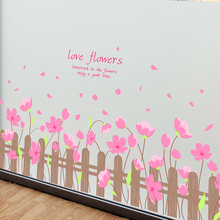 [shijuekongjian] Pink Color Flowers Baseboard Stickers DIY Wall Sticker for Kids Room Baby Bedroom Decoration Children Gift