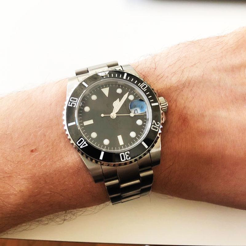 Saatler'ten Mekanik Saatler'de Safir Kristal BLIGER 40MM Siyah Steril Arama erkek saati Seramik Çerçeve MIYOTA Otomatik Hareketi Aydınlık Kol Saati'da  Grup 1