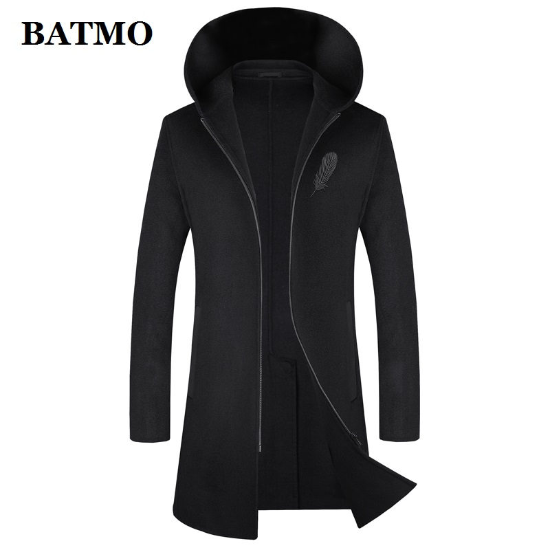 BATMO 2019 new arrival autumn&winter high quality wool hooded jackets men,men's wool trench coat,plus-size M-XXXL 2008