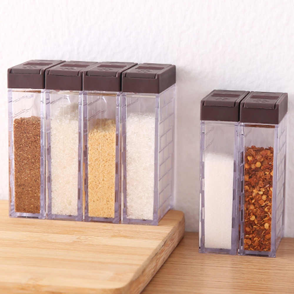 6 pçs/pçs/set suprimentos de cozinha combinação do agregado familiar simples transparente tempero base two-way open cover spice box conjunto lm3121719