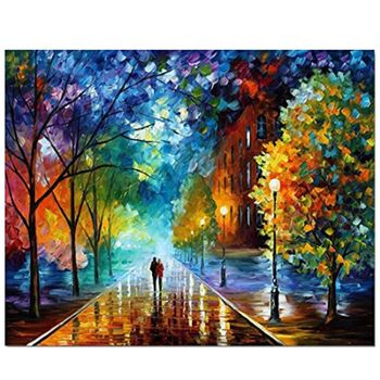 Night Street Digital Oil Painting By Numbers Canvas Wall Picture DIY Hand Painted Home Decor with Frame for Beginner
