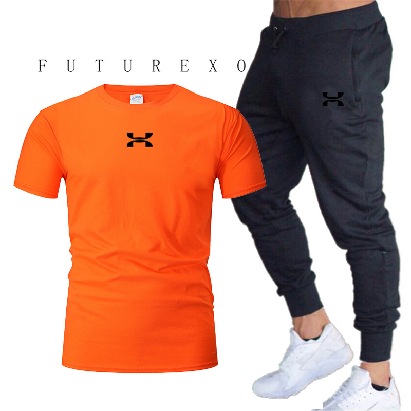 Men's Casual Wear T-shirt Set Men's Sportswear 2020 New Sports T-shirt Men's Short Sleeve T-Shirt 2 Pieces / Set