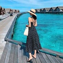 Женская пляжная юбка с открытой спиной, длинное платье на тонких бретельках для путешествий в санью