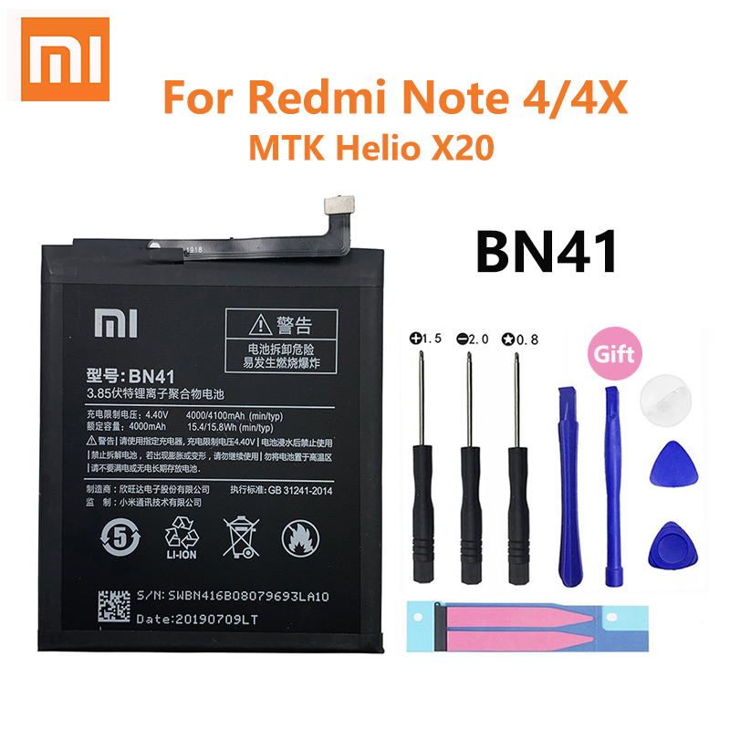 Xiao <font><b>Mi</b></font> Phone <font><b>Battery</b></font> 4100mAh BN41 Note4 Note4X For <font><b>Xiaomi</b></font> Redmi Note <font><b>4</b></font> / Hongmi Note 4X MTK Helio X20 Mobile Phone image