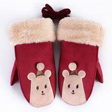 Симпатичный мультяшный олень/улыбка детские перчатки зимние толстые кашемировые Хлопковые варежки для мальчиков и девочек Детские теплые замшевые кожаные перчатки