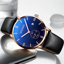 Новые мужские часы модные кожаные водонепроницаемые кварцевые