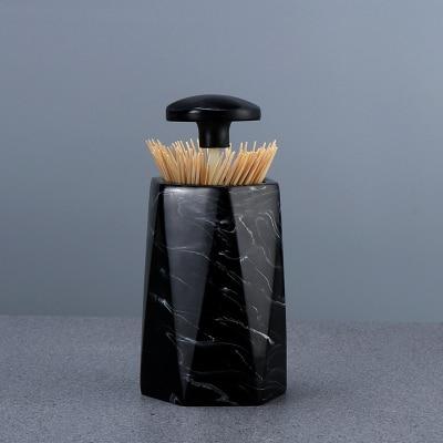 Европейская мода креативная мраморная текстура зубочистка коробка ручной давление коробка для хранения зубочисток настольная пепельница круглый ватный тампон коробка - Цвет: H