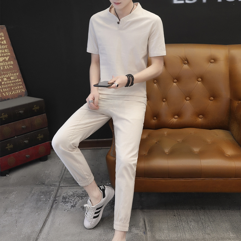 Men V-neck Suit Summer Print Linen Set Cotton Men T-shirt Slim short-sleeved Solid Color VogueShorts M-5XL Men Clothing