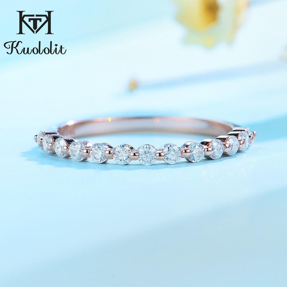 Kuololit 585 14K 10K or Rose bulle anneau pour les femmes Moissanite Solitaire anneau correspondant demi éternité mariage bande de fiançailles
