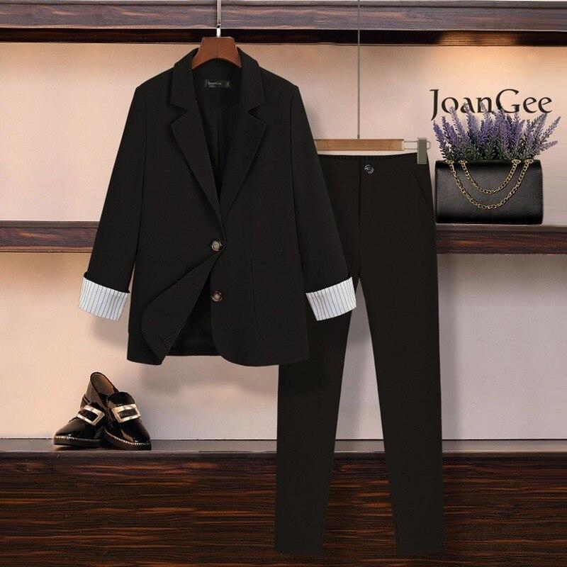 Женский костюм, осенняя Новая модная профессиональная одежда с высокой талией, тонкий женский костюм из двух предметов с эластичным поясом Брючные костюмы      АлиЭкспресс