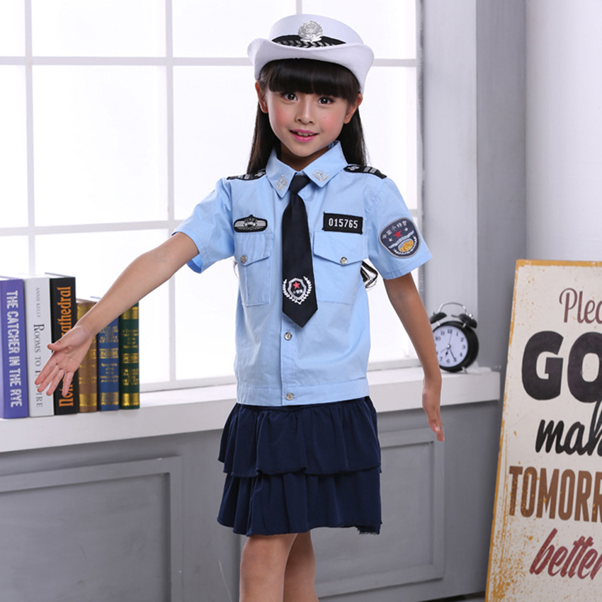 Kids Girls Police Women Uniform Cosplay Costumes Clothing Set 4PCs Dresses for Teenager Girls Halloween Cop Children Clothes image