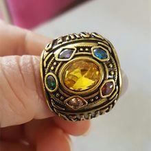 Marvel nieskończoność wojna Thanos pierścień męska damska Thanos moc Cosplay pierścionek ze stopu biżuteria kryształowy pierścień prezent dla fanów tanie tanio Ze stopu cynku Unisex Półszlachetnych kamieni Archiwalne Koktajl pierścień GEOMETRIC Wszystko kompatybilny decoration