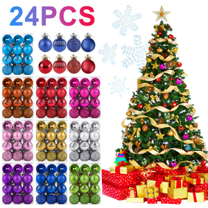 24pcs/set Christmas Tree Toys Decorations Ball Bauble Xmas Party Hanging Ball Ornaments Decorations For Home New Year Navidad