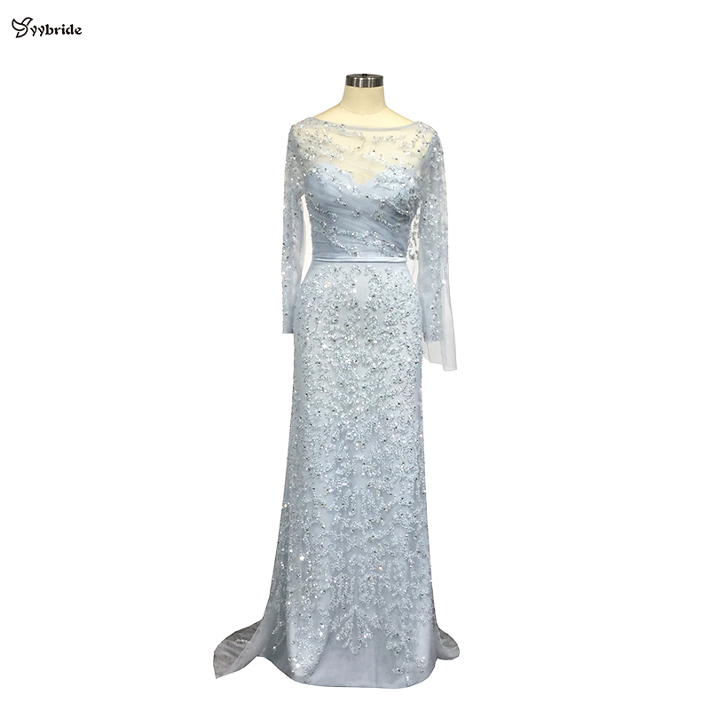 YYbride New Styles Light Blue Color Long Sleeves Evening Dresses Crystals Beading Prom Dresses Boat Neck Elegant Party Dresses