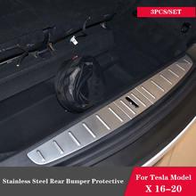 Для tesla model x 16 20 Нержавеющая сталь Задний бампер Защитная
