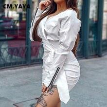 CM.YAYA abito Vintage a vita alta con scollo a v e scollo a v con scollo a v per abiti da donna a maniche lunghe con lanterna da strada