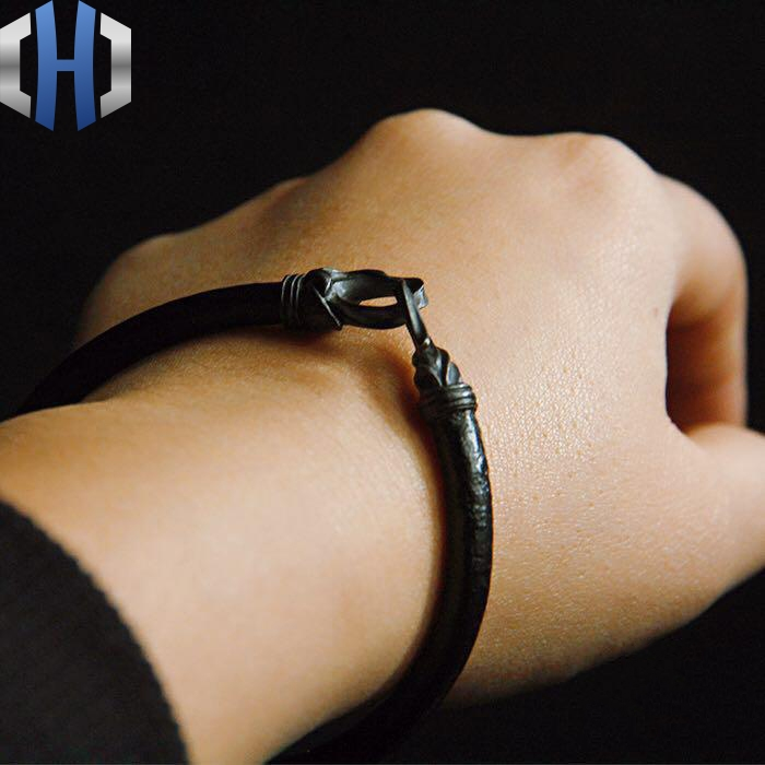 Original Handmade 925 Silver Bracelet Personality Retro Leather Simple Men And Women Hook