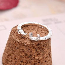 Wholesale Fashion Jewel Musical Notes Melody Sparkle Rhinestone Lady Dress Accessory Spiral Round Open Finger Ring(China)