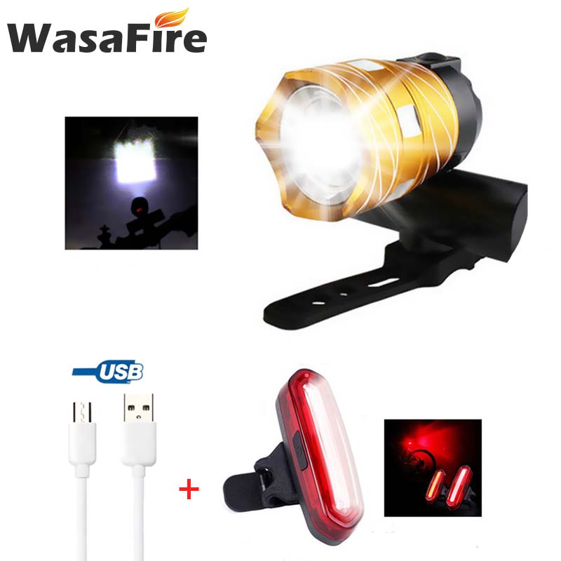 WasaFire T6 LED Bicycle Front Light Zoomable MTB Bike Lamp + 4 Modes Red COB Bike Taillight USB Rechargeable Bicycle Light Set